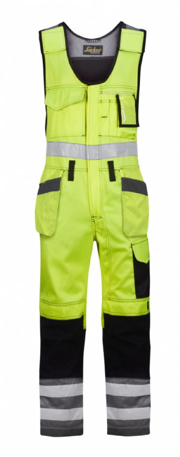 Snickers 0213 High-Vis One-piece Holster Pocket Trousers, Class 2 (High Vis Yellow/Muted Black)